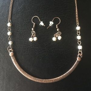 NEW Bronze/white bead necklace/earring set.